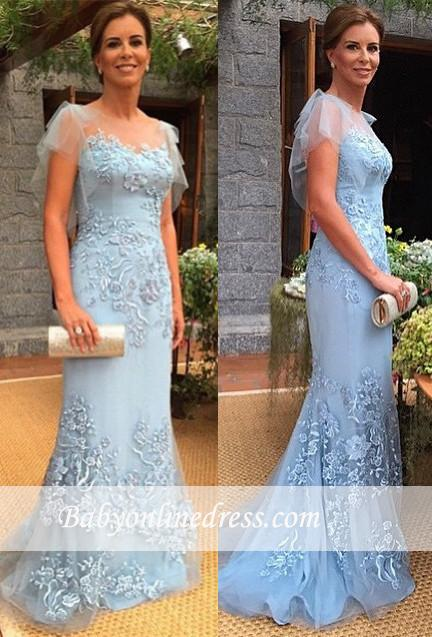 2018 Sweep-Train Cap-Sleeves Appliques Sheath Mother of the Bride Dress