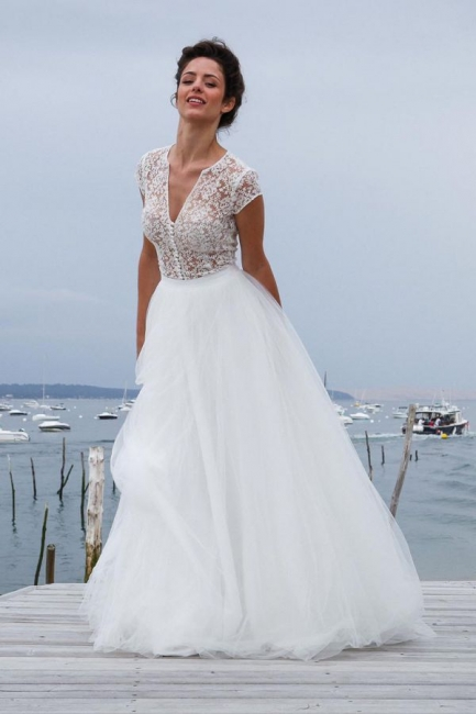 Short-Sleeves A-line V-neck Modern Tulle Simple Wedding Dresses