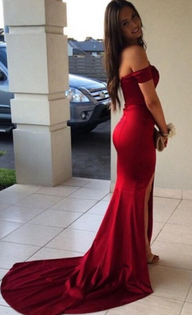 Sexy Mermaid Off-the-Shoulder Front Split Prom Dresses
