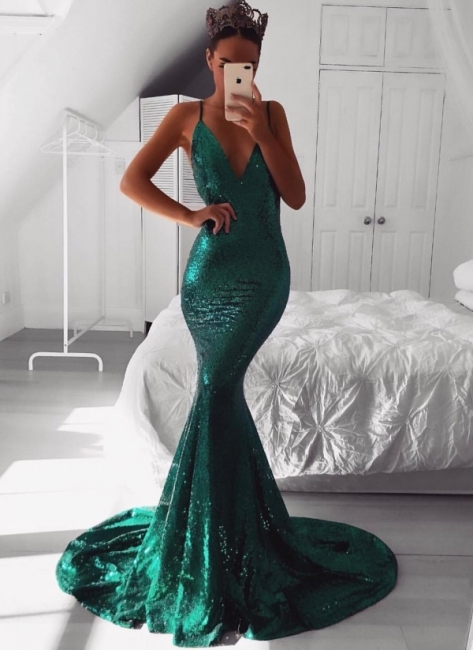 Sparkly Sequins Mermaid Evening Dresses | Sexy Spaghetti Straps Long Prom Dresses