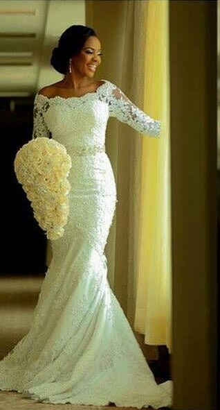 Lace Mermaid Wedding Dresses Half Long Sleeves Off the Shoulder Beaded Elegant Bridal Gowns