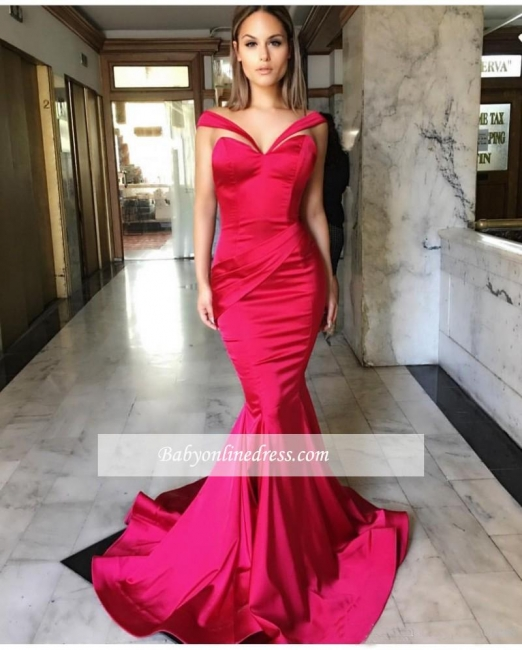 2018 Sexy Off-the-Shoulder Mermaid Sweep-Train Sleeveless Prom Dresses