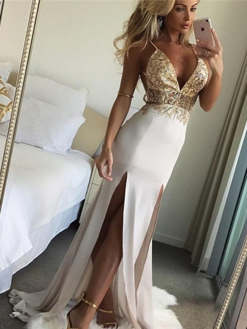 Shiny Beading Mermaid Evening Dresses | Sexy Deep V-Neck Side Slit Long Prom Dresses