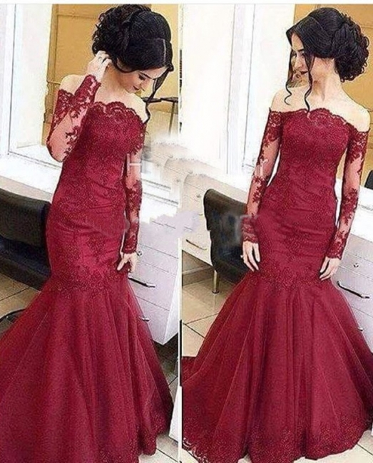 Amazing Lace Burgundy Mermaid Tulle Off-The-Shoulder Long-Sleeve Prom Dresses BA5001