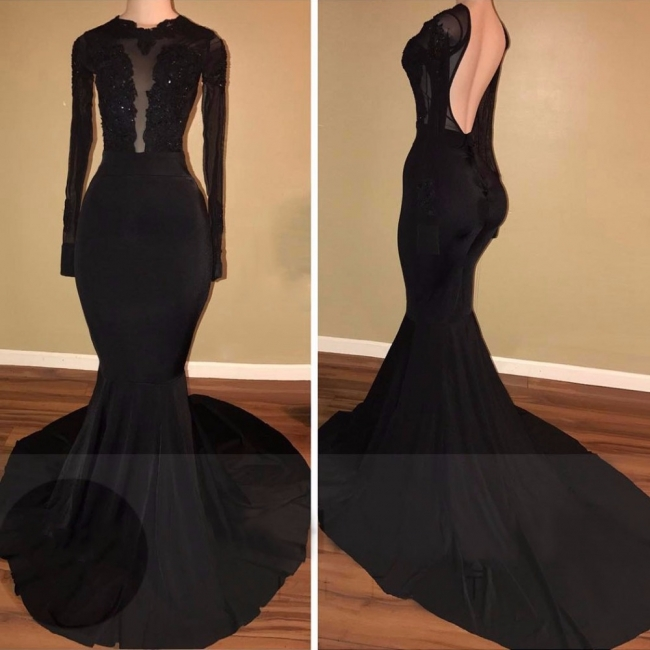 Simple Black Mermaid Evening Gowns | Long Sleeves Backless Prom Dresses