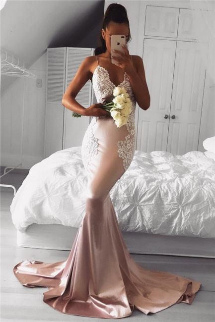 Cute Lace Mermaid Prom Dress Spaghetti-Strap Sleeveless Long Evening Dresses