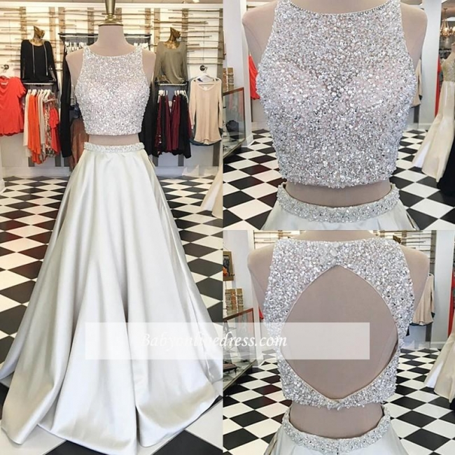A-line Jewel Two-Piece Crystals Sleeveless Gorgeous Prom Dress