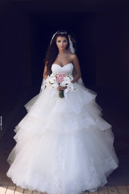 Gorgeous Sleeveless Tulle Bridal Gowns Long Lace Sweetheart Wedding Dresses