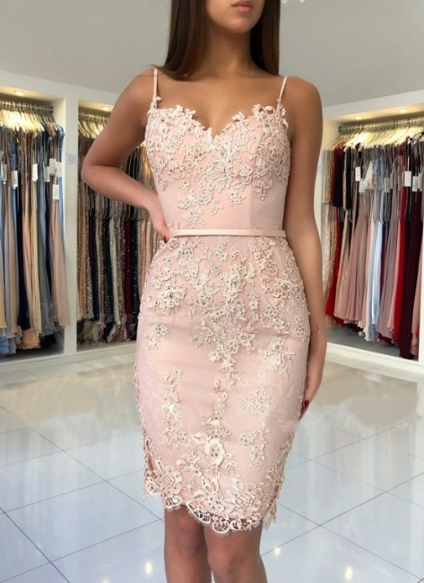 Elegant Pink Sheath Homecoming Dresses | Spaghettis Straps Lace Appliques Cocktail Dress