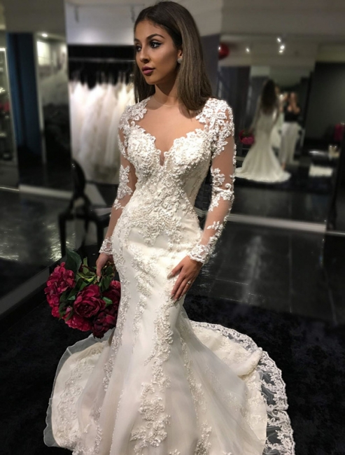 Sexy Mermaid Long Sleeves Wedding Dress | Appliques Court Train Bridal Gowns
