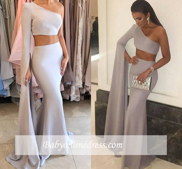 2018 Stunning Mermaid Two-Pieces One-Shoulder Floor-Length Prom Dress