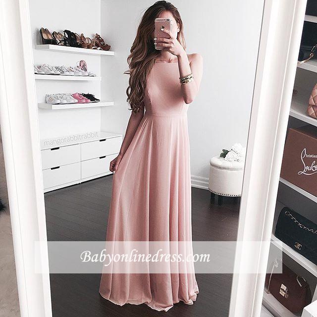 2018 Elegant A-line Jewel Pink Sleeveless Floor-length Prom Dress