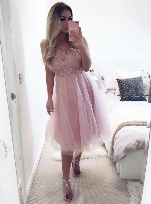 Chic Tulle A-Line Homecoming Dresses | Scoop Sleeveless Tulle Short Prom Dresses