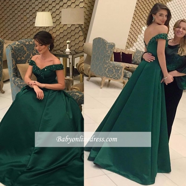 Green Beads Glamorous Off-the-Shoulder Evening Dress