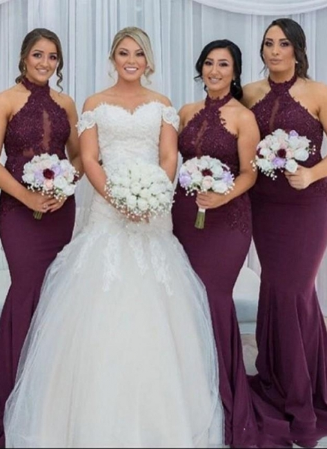 Halter Mermaid Sexy  Bridesmaid Dresses | Lace Appliques Long Maid Of The Honor Dresses