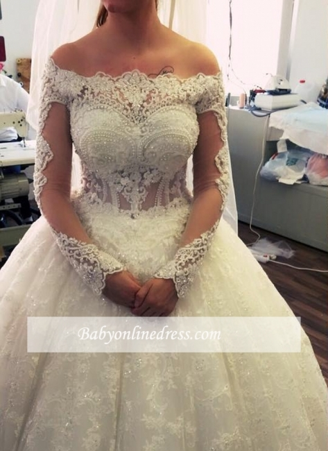 Lace Ball-Gown Amazing Pearls Off-the-Shoulder Long-Sleeves Wedding Dresses