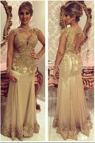 Luxury Sheath Floor-Length Long Sleeve Applique Beaded Tulle Evening Dresses