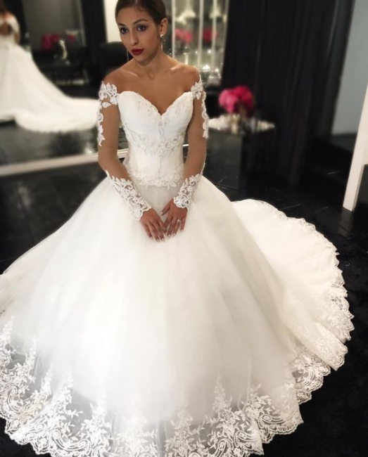 Elegant Sweetheart Off-the-Shoulder Wedding Dresses Long Sleeves Appliques Bridal Gowns