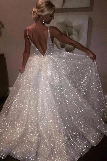 Sheer Sleeveless A-line Wedding Dresses | Open-Back Bridal White Wedding Dresses