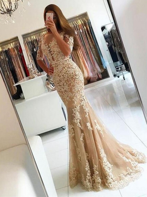 2018 Champagne Mermaid Lace Prom Dresses Open-Back Half-Sleeves Evening Gowns LY137