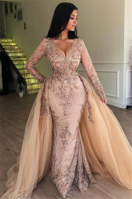 Floor Length Gorgeous Long Sleeves Prom Dresses With Detachable Train   Long Evening Dresses