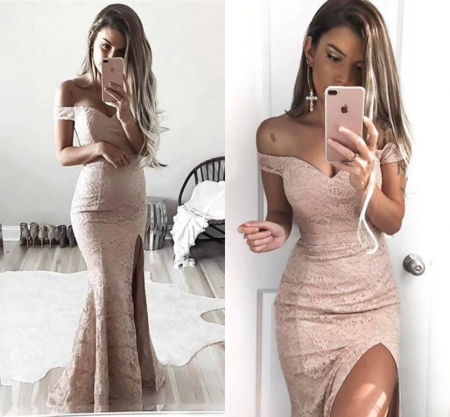 Gorgeous Mermaid Lace Prom Dresses | Off-the-Shoulder Split Evening Gowns