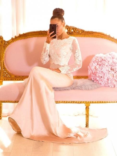 Elegant Lace Mermaid Bridesmaid Dresses | Jewel Long Sleeves Evening Dresses