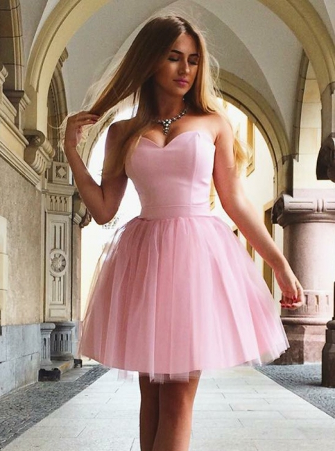 Sexy Pink Tulle A-Line Homecoming Dresses | Sweetheart Tulle Short Cocktail Dresses