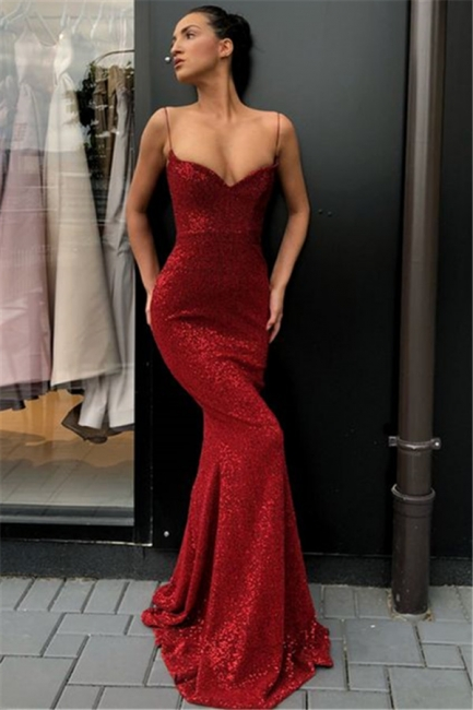 Sequin Spaghetti Straps Fitted Long Prom Dresses | Stunning Floor Length Evening Dresses