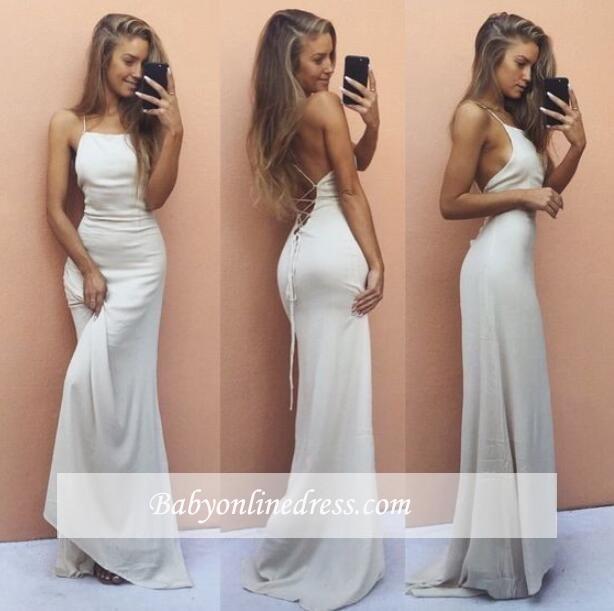 White Sexy Sleeveless Mermaid Spaghetti-Strap Backless Prom Dress
