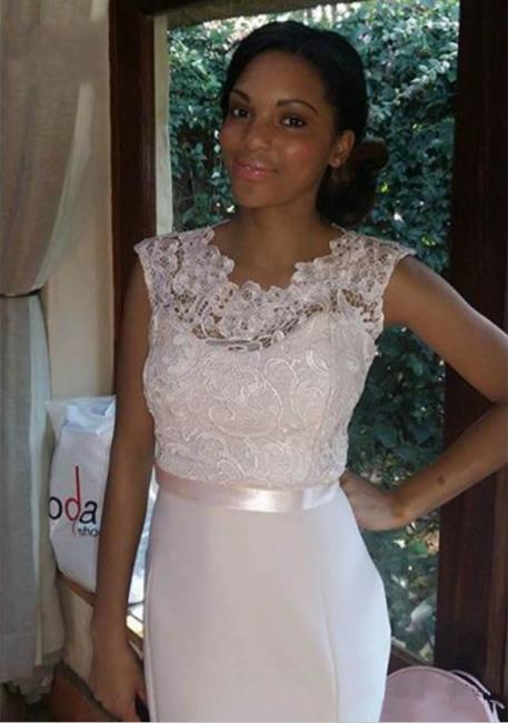 Cheap Lace Mermaid Beach Bridesmaid Dresses Sash Floor Length Wedding Party Dresses