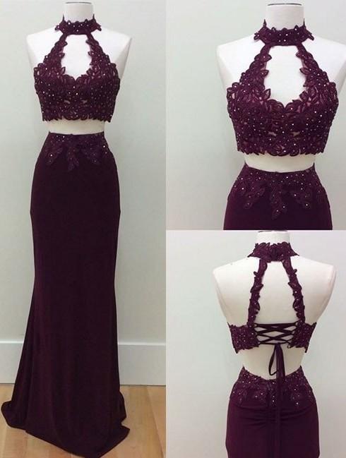 Lace-Up Beading Keyhole-Neck Two-Piece Lace Sheath Prom Dresses
