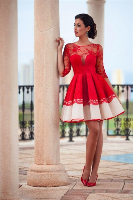 Glamorous Short A-line Homecoming Dress Half-sleeves Appliques Cocktail Dresses