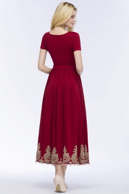 ROSEANNA | A-line Short Sleeves Ankle Length Appliques Prom Dresses with Sash_3