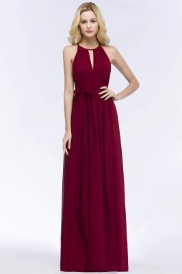 ROSALIND | A-line Halter Floor Length Burgundy Bridesmaid Dresses with Bow Sash_1