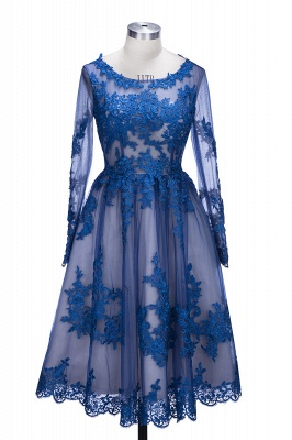 Royal Blue Short Homecoming Dresses Long Sleeves Lace Cocktail Dresses_1