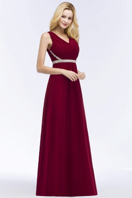 ROSALINE | A-line Long Sleeveless V-neck Ruffled Chiffon Bridesmaid Dresses with Beading Sash_5