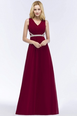 ROSALINE | A-line Long Sleeveless V-neck Ruffled Chiffon Bridesmaid Dresses with Beading Sash_6