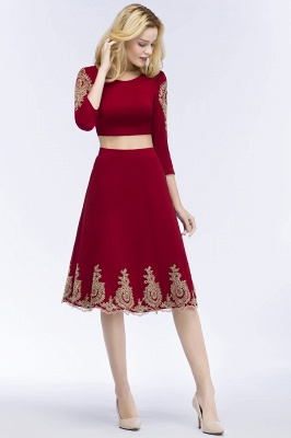 ROSAMOND | A-line Two-piece Long Sleeves Tea Length Appliques Homecoming Dresses_4