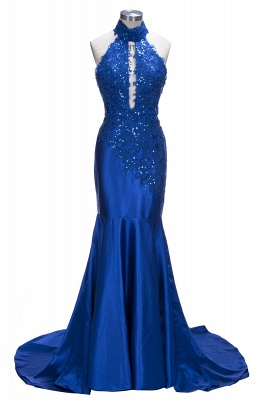 Royal Blue Mermaid Prom Dresses | Halter Backless Evening Gowns with Keyhole Neckline_1