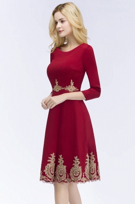 ROSANNA | A-line Knee Length Burgundy Appliques Homecoming Dresses with Sleeves_5