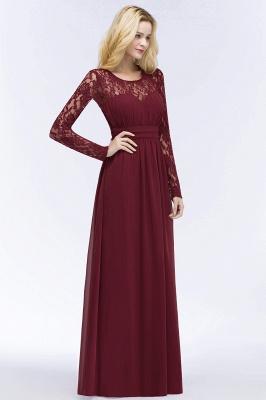 ROSALIE | A-line Floor Length Long Sleeves Lace Chiffon Bridesmaid Dresses_1