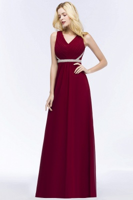 ROSALINE | A-line Long Sleeveless V-neck Ruffled Chiffon Bridesmaid Dresses with Beading Sash_4