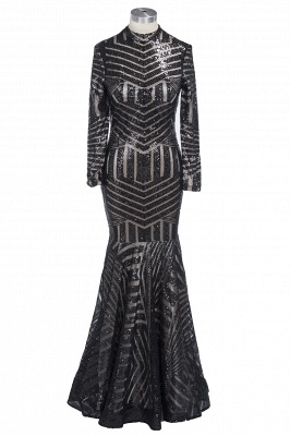 Sexy Black Mermaid High Neck Long-Sleeves Sequined Prom Dress_1