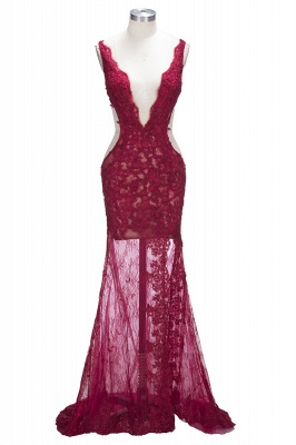 Sexy Burgundy Lace Evening Gowns | Side Split Mermaid Prom Dresses SP0386_1