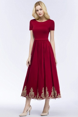 ROSEANNA | A-line Short Sleeves Ankle Length Appliques Prom Dresses with Sash_9