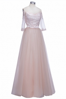 A-line Lace Off-the-shoulder Tulle Half-Sleeves Glamorous Prom Dresses_1