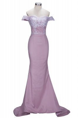 Elegant Blushing Pink Off-the-Shoulder Lace Mermaid Appliques Prom Dresses_1