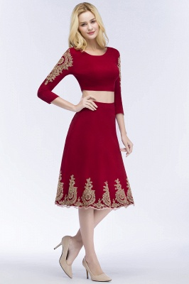 ROSAMOND | A-line Two-piece Long Sleeves Tea Length Appliques Homecoming Dresses_6