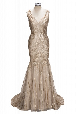 V-neck Mermaid Sleeveless Champagne Sexy Sequins Deep Gold Evening Gown_1